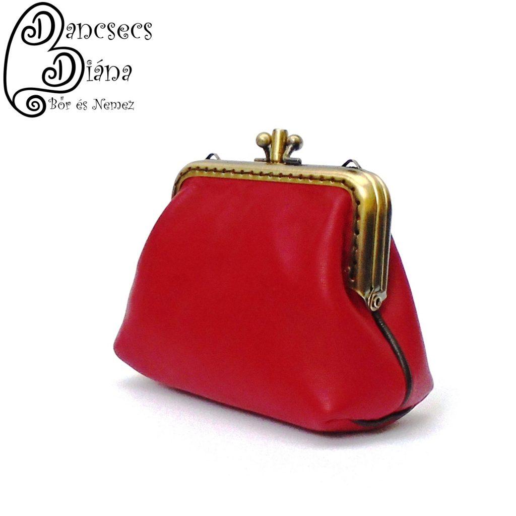 fémkeretes pénztárca, kétrészes, piros