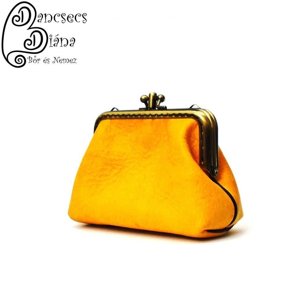 fémkeretes pénztárca, kétrészes, sárga