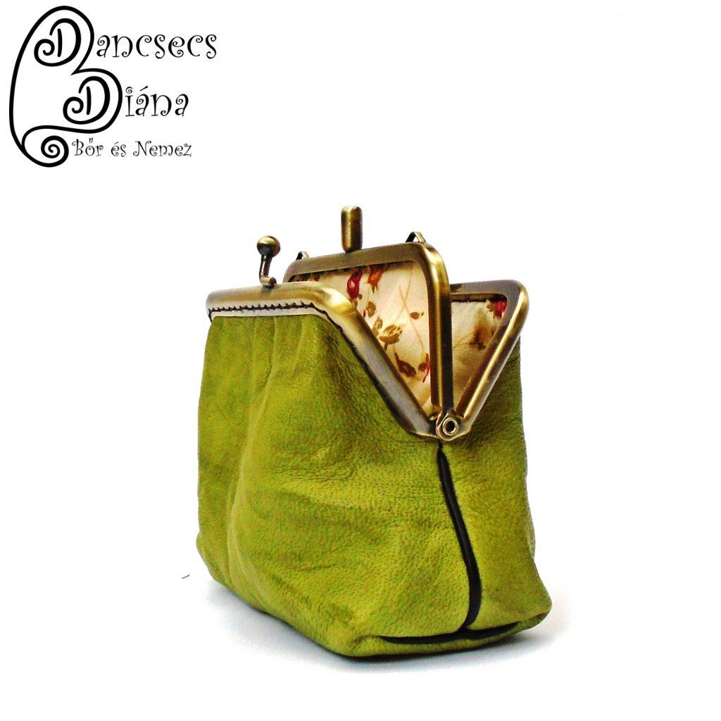 fémkeretes pénztárca, kétrészes, zöld